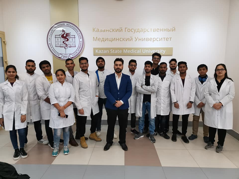 Mr. Aman Pandey with our students of Kazan State Medical University